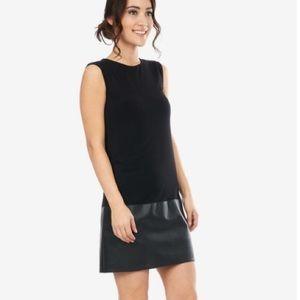Bailey 44 Contrast Leather Hem Stretch Dress